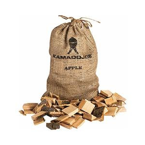 Light brown burlap bag of Kamado Joe apple chunks with wooden chunks sitting infront of it