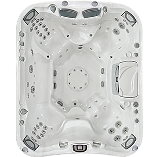 White and silver Aspen Sundance Spa 880 series hot tub