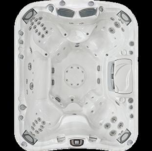 White and silver Aspen Sundance Spa 880 series hot tub