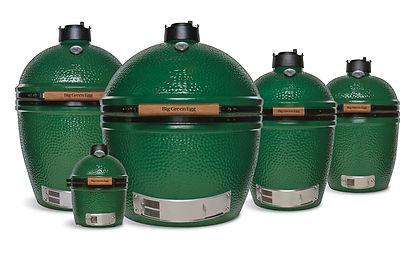 Five green Big Green Egg grills