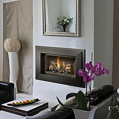 Fresh modern room with white and black gas fireplace