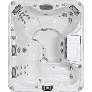 White and silver Sundance Spa 880 series Marin hot tub