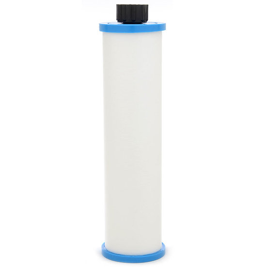 Thin and long spa PreFilter with a blue top and a blue bottom and a black knob on top