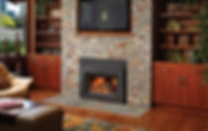 Brick fireplace with wood insert