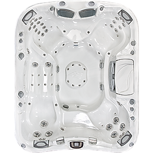 white and silver Sundance Spa 880 series Maxxus hot tub