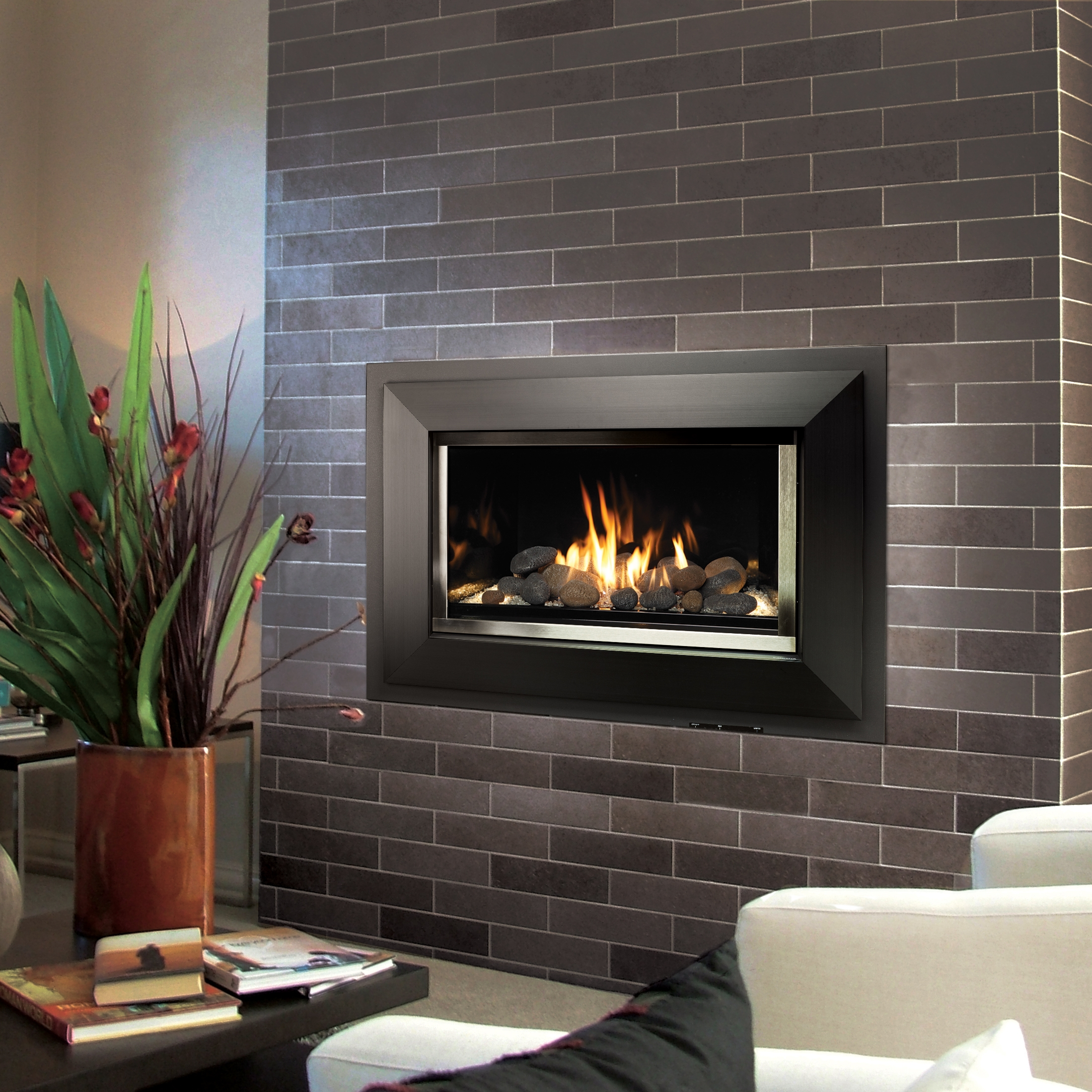 Modern gas fireplace with stone