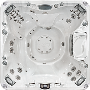 White and silver Sundance Spa 880 series Optima hot tub
