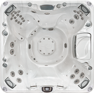 White and silver Sundance Spa 880 series Optima hot tub