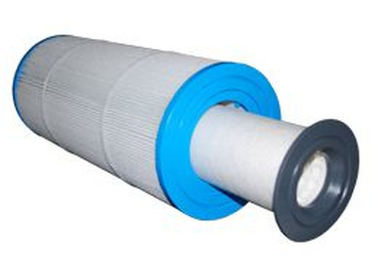 Cylindrical hollow white spa filter with a blue top and a blue bottom and a white cylindrical insert