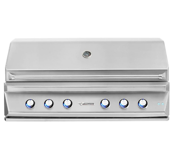 """54"""" 4-Burner Built-In Propane Gas Grill with Sear Zone & Two Infrared Rotisserie"""