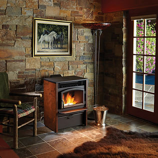 Rustic room with stone walls and free standing pellet stove