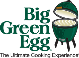 White and green Big Green Egg grill logo