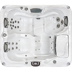 White and silver Sundance Spa 880 Series Capri hot tub