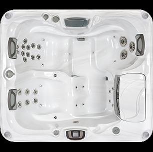 White and silver Sundance Spa 880 Series Capri hot tub
