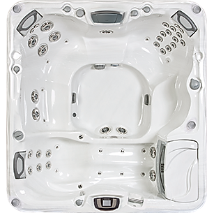 White and silver Sundance Spa 880 series Altamar hot tub
