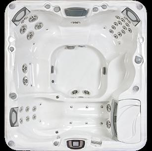 White and silver Sundance Spa 880 series Altamar hot tub