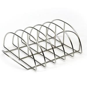 Arched stainless steel wire rack for cooking ribs on Kamado Joe grill