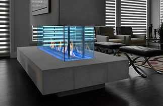 Modern room with decorative transparent blue glass fireplace