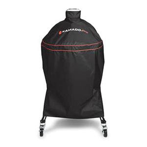 Black fabric grill cover for Kamado Joe grill