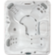 White marble and silver Sundance Spa series 780 Montclair hot tub