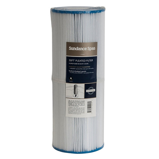White cylindrical 373045 spa filter with a blue top and a blue bottom