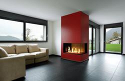 Linear custom gas fireplace