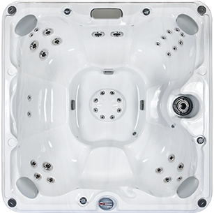White marble and silver Sundance Spa 680 series Edison hot tub