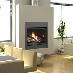 Square Gas Fireplace With Wood