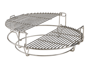 Wire cooking rack with two half-circle shaped platforms for Kamado Joe grill