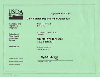 USDA License - until June 27, 2021