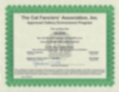 CFA Cattery of Excellence until May 29 2