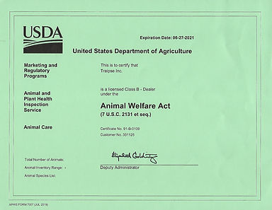 USDA License - until June 2021