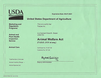 USDA License - until June 27, 2021