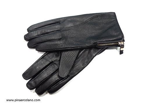 Guanti Donna in pelle con cerniera - G3048G7 - Nero