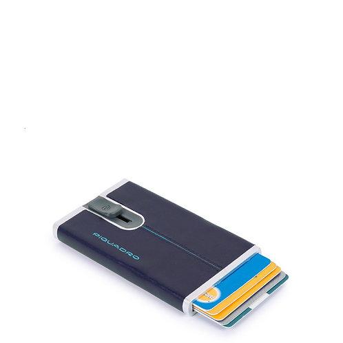 Porta carte di credito eject - sliding system - RFID - Blue Square - Piquadro
