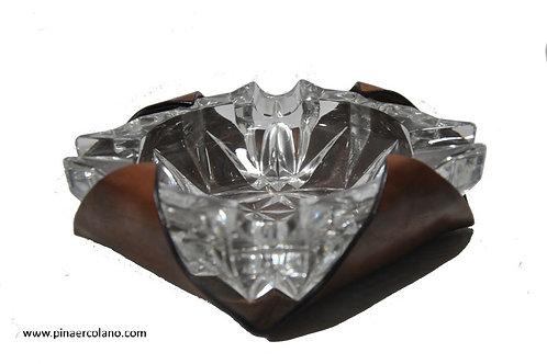 Posacenere quadrato medio Cristallo e cuoio