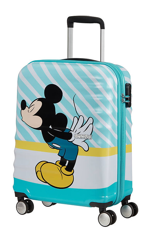 Trolley cabina spinner 4ruote Wavebreaker Mickey Blue Kiss American Tourister