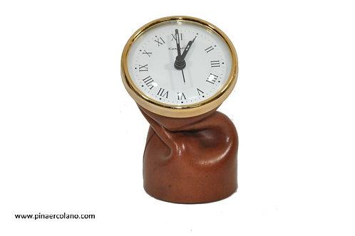 Orologio rotondo piccolo da tavolo in cuoio