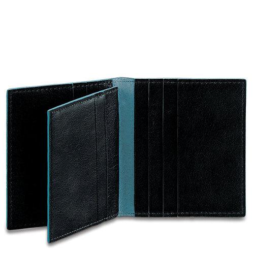 Porta carte di credito a libro tre parti in pelle - Blue Square - Piquadro