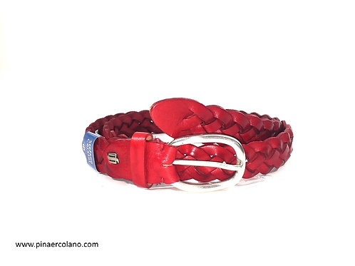 Cintura Donna In pelle intrecciata  Rossa Cm 3 Stefano Corsini