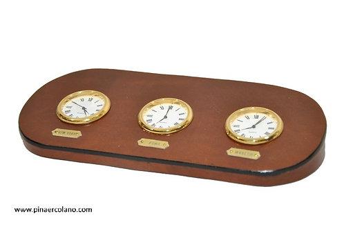 Orologio da tavolo 3 time zone in cuoio