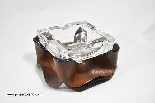 Posacenere quadrato  Cristallo e cuoio ondulato