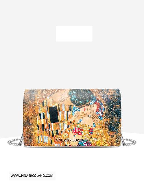Borsa a tracolla con pattina small - Alviero Rodriguez Ketty Il Bacio di Klimt