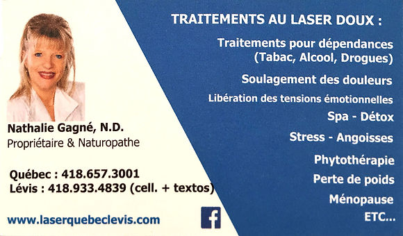 Traitements laser : perte poids, tabac, alcool, drogues, stress. Aussi protéines Inovacure, Protéina Signature et massage ventre.