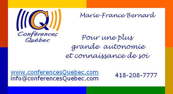 Conférences Québec a le bonheur de vous proposer un programme d'activités hors du commun. Le but visé est de vous proposer des outils, des trucs ou des exercices pour vous mener à une plus grande autonomie et connaissance de soi.