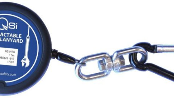 Retractable Tool Lanyard 1.5m with Stop Function & Black Carabiner