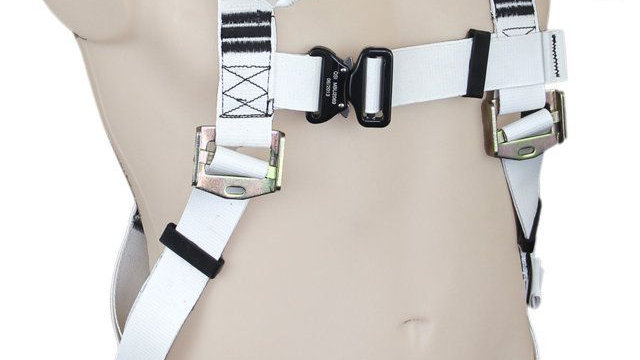 White PVC F/B Harness with Upper Loops & Dorsal D-Ring. Standard Buckles