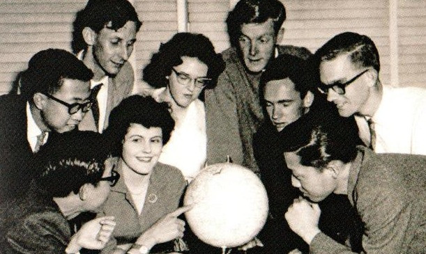 University of Adelaide and Colombo Plan students plan their tour of Singapore, Malaya, Thailand and Sarawak on the Colombo Plan Students Association of South Australia sponsored goodwill tour, 1962