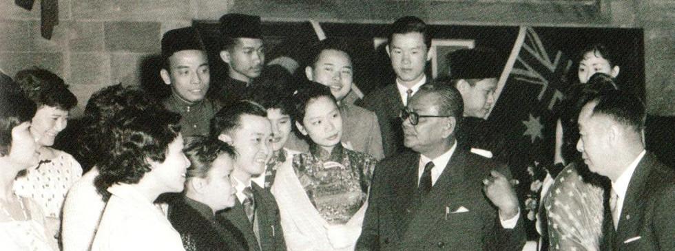 Tunku Abdul Rahman with Malayan students during his visit to Australia, November 1959