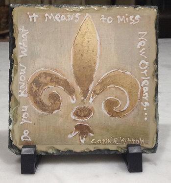 Fleur De Lis table top slate plaque with easels
